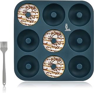 SUPER KITCHEN Grand Moule à Donuts en Silicone 9 Cavités avec Pinceau Pâtisserie, Antiadhésif Moule de Bagels, Four de Dou...