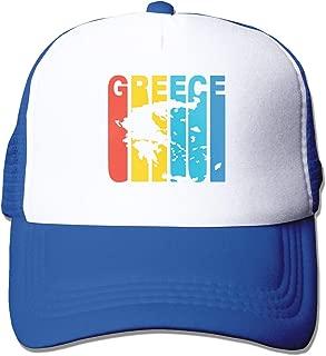 Greece Greek Retro 1970's Style Adult Mesh Cap Adjustable Snapback Hats Blue