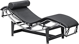 Mid Century Modern Classic Le Corbusier LC-4 Style Replica Chaise Lounge Chair With Premium Black Genuine Leather and Stainless Steel Frame