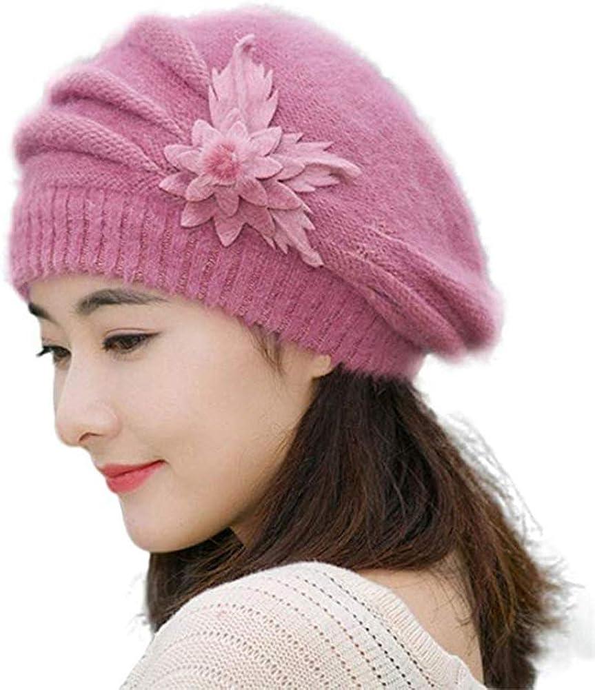 C.C-US Women's Winter Beret Hat Fleece Lined Soft Warm Beanie Cap with Flower Accent