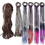 Extensiones Pelo Niña, extensiones de trenzas coloridas para el cabello, accesorios giratorios para el cabello con banda de cuerda elástica para mujeres y niñas, 10 piezas