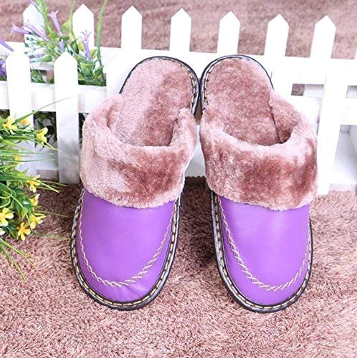 Lady Slippers Womens shoes Lady Cotton Slippers Indoors to Keep Warm in Autumn and Winter Faux Leather Slippers Purple pink Red Keep Warm shoes for Women