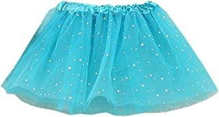 ZLOLIA Baby Clothes Autumn Winter Girl Princess Stars Sequins Party Dance Ballet Tutu Skirts (One Size, Blue)