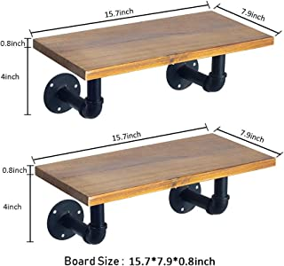Ticco Rustic Floating Shelves,Industrial Pipe Brackets with Actual Light Wood Sheling,Set of 2 DIY Storage Wall Shelf (15.7