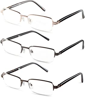 Specs Mens Half Rimmed Reading Glasses, Value Pack, All Magnification Strengths