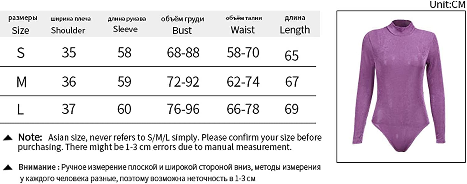 RSRZRCJ Women 's Casual Long Sleeve Bodysuit Solid Color Half High Collar Tight Jumpsuit Party Clubwear Outfits Bodysuit