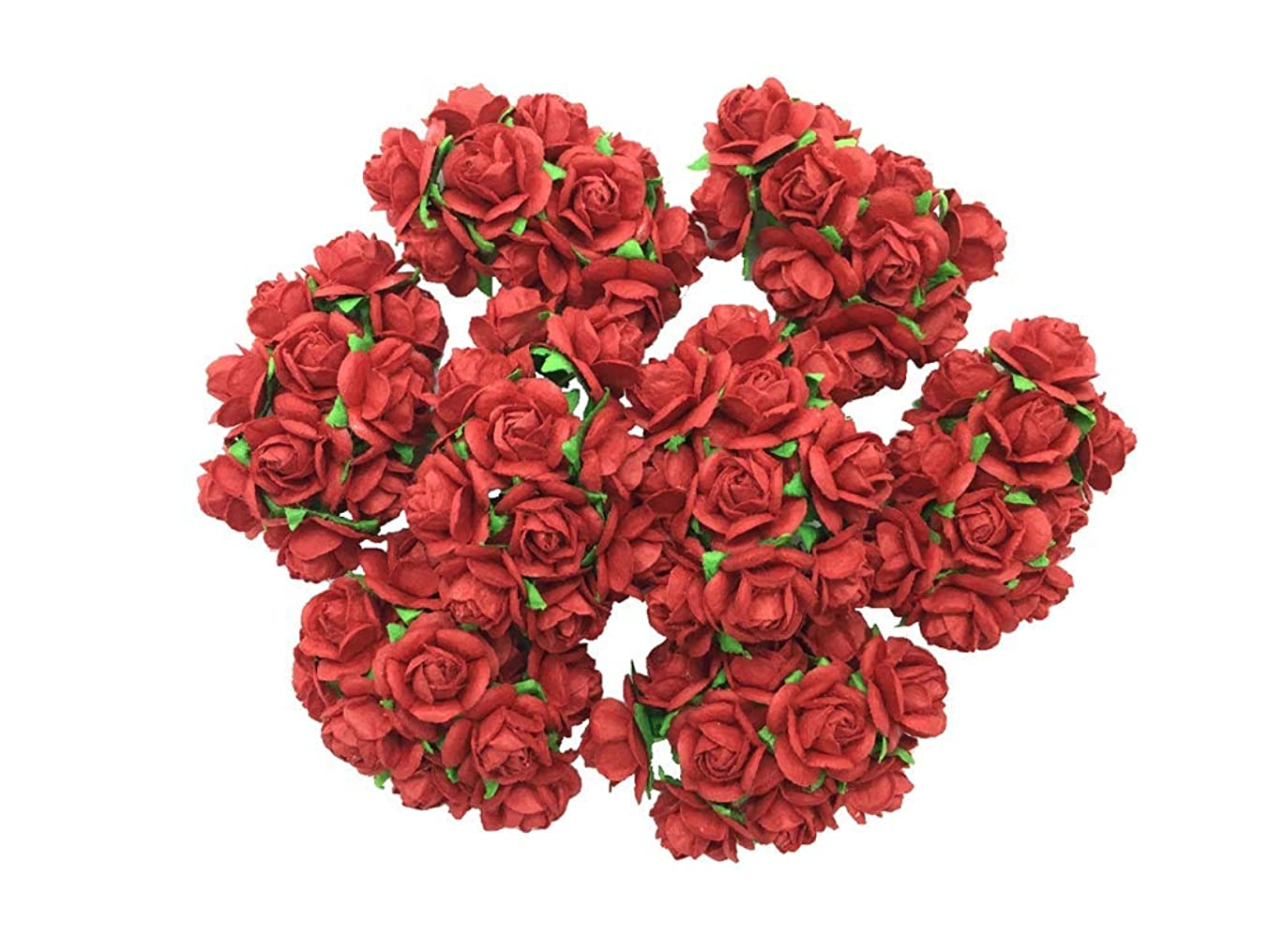 100 pcs Mini Red Rose Color Mulberry Paper Flower 10 mm Scrapbooking Wedding Doll House Supplies Card Mini Paper Flowers
