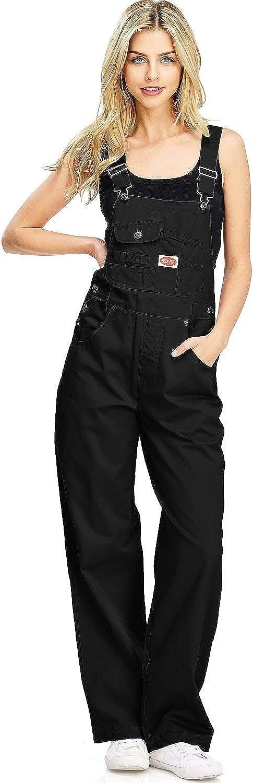 Revolt Portland Mall unisex Women's Juniors Baggy Straight Twill Leg Overalls
