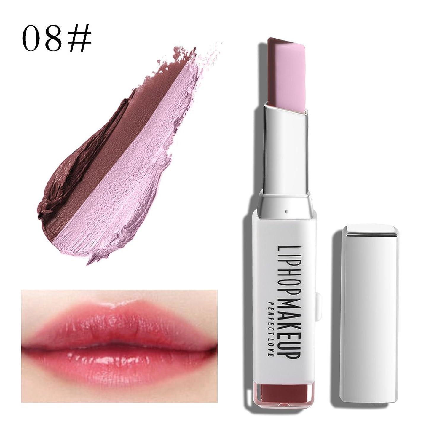 大圧縮された気づく1 PC Popular Waterproof Women Multicolor New Two Tone Lipstick #8