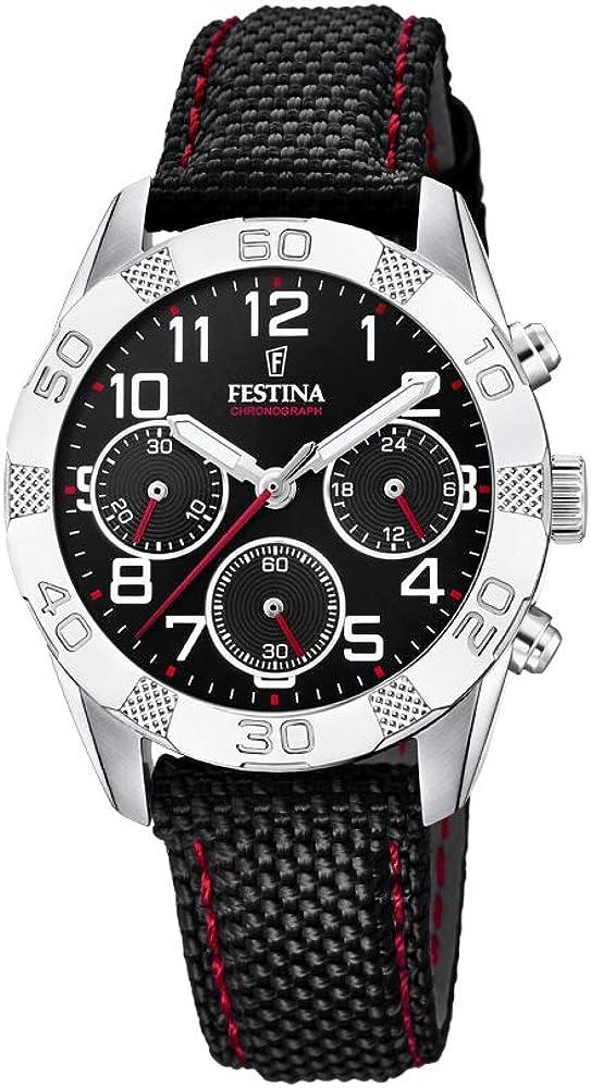 Festina orologio cronografo da uomo con cassa in acciaio inossidabile e cinturino in tessuto F20346/3
