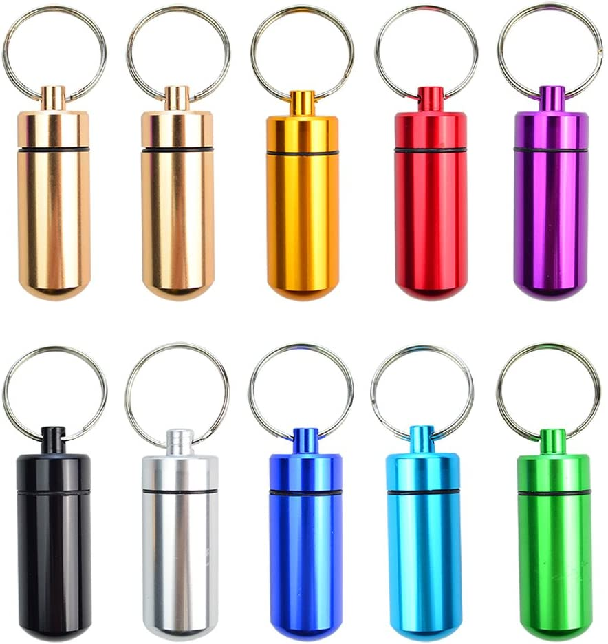 10 Pcs Portable Pill Case, Bantoye Waterproof Aluminum Pill Holders Storage Drug Container with Keychain for Outdoor Camping Traveling, Multicolor : Health & Household