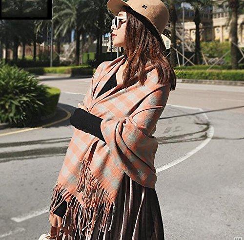 KYXXLD l'hiver Tout-Match d'hiver épaisse écharpe châle Orange Gris épaissi