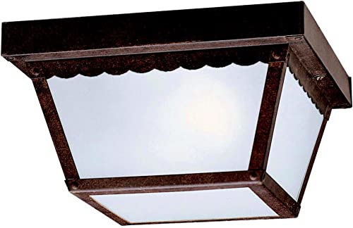 """lowest 9.25"""" outlet sale 2 Light Outdoor Flush Mount with Clear lowest Textured Glass in Tannery Bronze sale"""