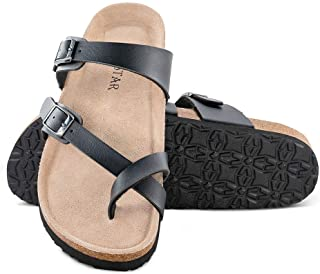Mayari Leather Sandals,Adjustable Flat Casual Slippers for Women & Ladies, Flip-Flops Ring Open Toe Slide Cork Footbed for Teenagers/Girls