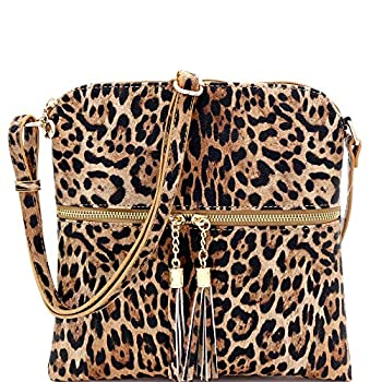 Leopard Print Vegan Leather Tassel Accent Multi Pocket Small Medium Crossbody  Tassel Leopard Print - Tan