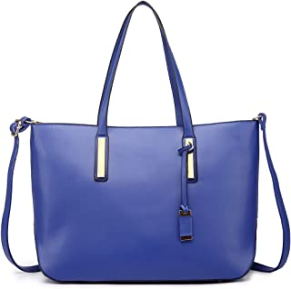 5bcdbaf4e3 Miss Lulu Sac d'épaule en faux cuir pour femme à bandoulière, Bleu Marine
