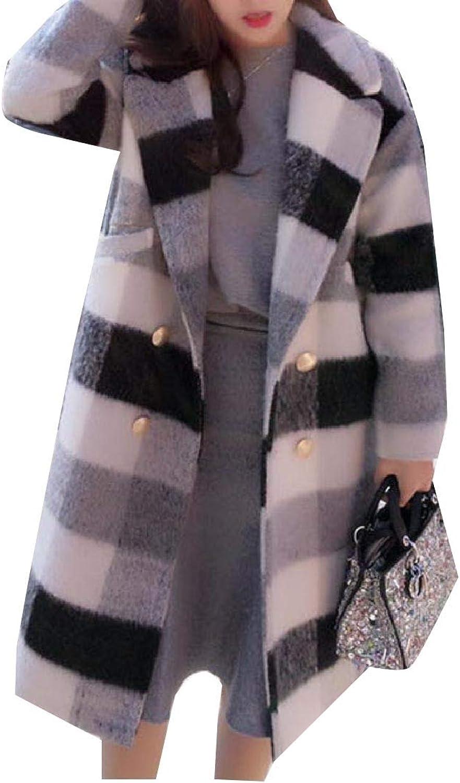 dc7970f320d Winme Women Plaid Plaid Plaid Print Wool Blend Outwear Thick Overcoat Pea  Coats 34709a
