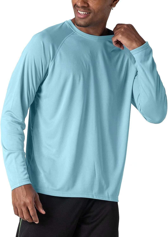 Mens UPF 50 UV Sun Protection Performance Long Sleeve T-Shirt Workout Quick Dry Rashguard
