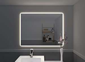 Naomi Home Bathroom Mirror with Lights LED Vanity Mirror Wall Mounted, Anti Fog,Touch Switch Silver/31 x 23