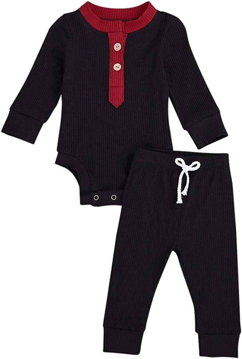 Newborn Baby Girls Knitted Outfits Long Sleeve Ruffle Romper Bodysuit + Leggings Pants Set 2Pcs Fall Winter Pjs Clothes