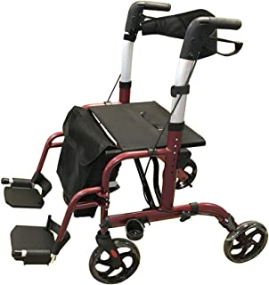 Hitkey Aluminium Rollator & Transit Wheelchair with Shopping Bag,Height Adjustable, Lightweight Transport Chair with Locking Hand Brakes 8