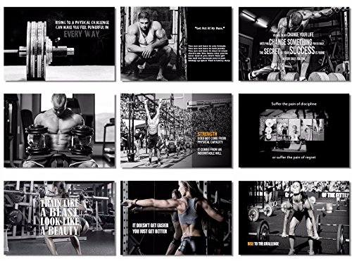 9 x Poster-Stoff Bodybuilding Männer Mädchen Fitness Workout Zitate Motivational Inspiration Muscle Gym 20x13 inch (50x33cm) 9x-e616 (10-18)