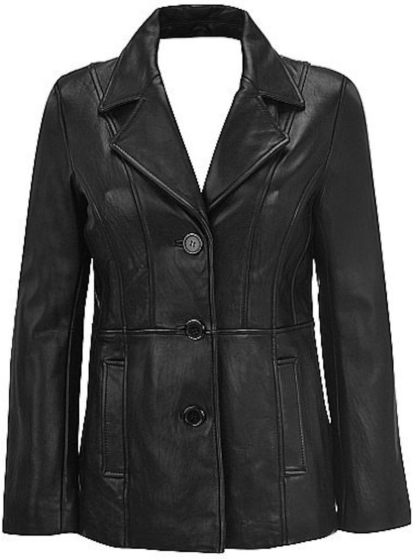 Fadcloset Women's Athena 3 Button Leather Coat