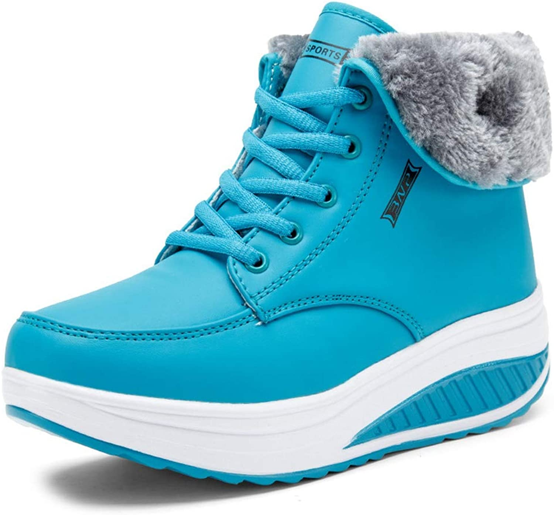 T-JULY Women Winter Warm Snow Cotton Padde Velvet shoes Female Fur Ankle Boots Fashion Lace Up Heel Boots