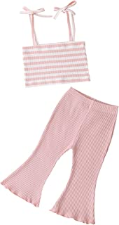Kids Toddler Baby Girls Colorful Striped Knitted Clothes Set Vest Top +Flare Pants 2Pcs Ribbed Outfit Set