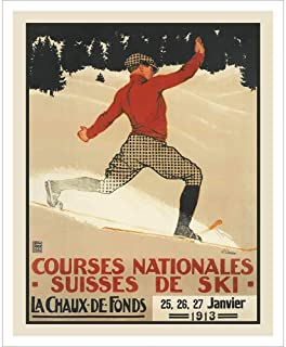 Tele Turn Swiss Art Deco Ski Poster, Size 22 x 28 inches