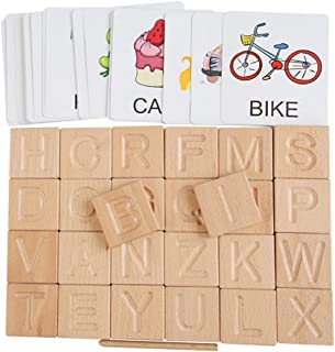 TOYANDONA 1 Set Wooden Tracing Alphabet Slices Letters Tiles Preschool Learning Letter with English Word Flash Cards Educa...