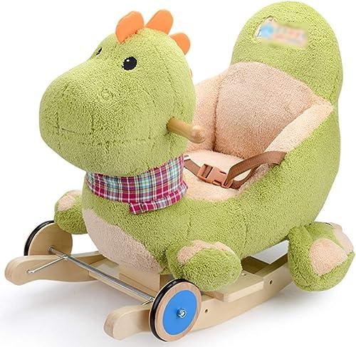 El ultimo 2018 Byx- Baby Rocking Horse - Trojan Rocking Horse Silla Silla Silla Mecedora para Niños Uso Dual Dinosaurio de Dibujos Animados Niño Cumpleaños Cumpleaños Caballo de Madera  Tu satisfacción es nuestro objetivo