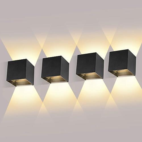 4 Pack Applique Murale Interieur/Exterieur 12W avec Angle de Faisceau Réglable Appliques Murales LED 3000K Blanc Chau...