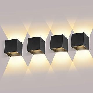 comprar comparacion 4 Pack 12W Apliques De Pared Exterior/interior LED Apliques Ángulo De Haz Ajustable Hacia Arriba Y Hacia Abajo 2700-3000K ...