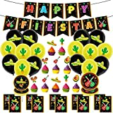 Mexican Themed Fiesta Party Supplies, Mexican Fiesta Themed Party Decorations Including Happy Birthday Banner Balloons Dinner Plate Cake Flags for Fiesta Mexican Cinco de Mayo Birthday Party