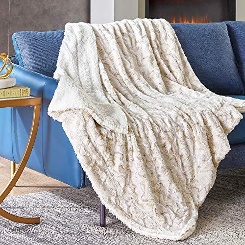 N \ A Hyde Lane Kuscheldecke für Couch und Bett, 2-Wege-wendbar, Sherpa-Fleece und Plüsch-Berber, weiche Überwurfdecke für Erwachsene, Größe mit flauschigem Kunstfell (Schneeleopard), 50 x 60 cm