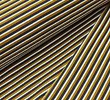 Jersey Stoff mit schmalen Streifen Senf/Grau/Weiß als