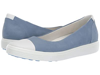 ECCO Soft 7 Ballerina (White/Retro Blue Cow Leather/Cow Nubuck) Women