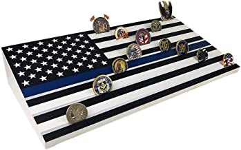 AtSKnSK American Flag Challenge Coin Display Stand Thin Blue Line Military Coin Holder - Holds 64 to 71 Coins (7 Rows, Wooden)