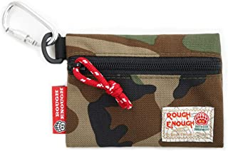 Rough Enough CORDURA Army Military Camo Casual Classic Clip On Inserted Portable Small Cash Card Coin Change Purse Case Pouch Wallet Storage Bag Organizers with Zipper Fasten Buckle