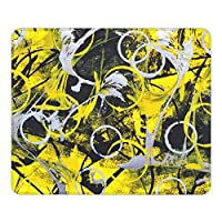 黄色な丸マウスパッド25 * 30CMポリエステル布製 耐久性がありグリーンで環境に優しい精密シーミングマウスパッド