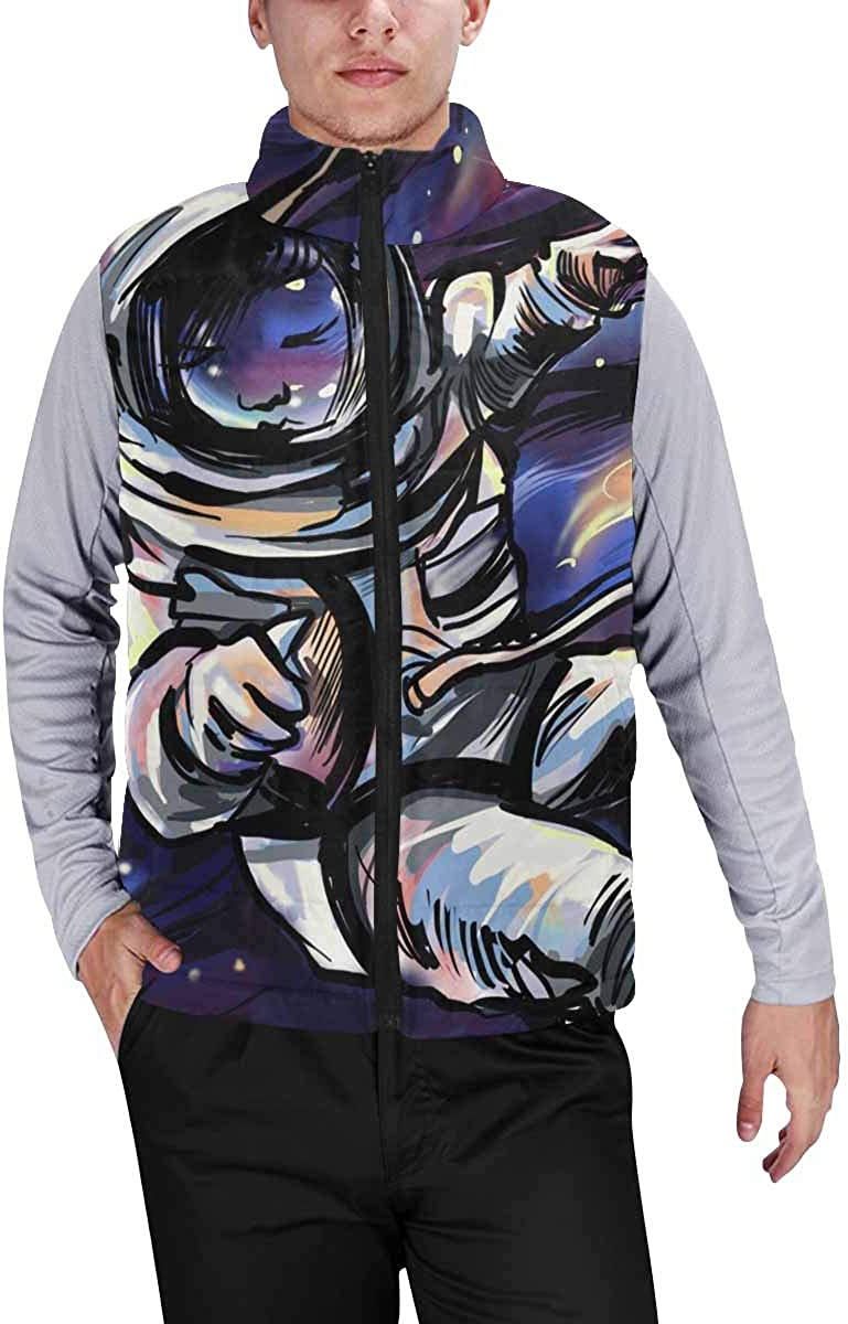 InterestPrint Men's Lightweight Vest Softshell for Camp Universe M