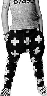 Kids Boys Cross Pattern Harem Pants Casual Sweatpants Baggy