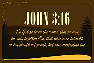 Decals Home Decor & More JSC596 John 3:16 Bible Verse Poster Pine Trees | 18-Inches by 12-Inches | Motivational Inspirational Educational Religious | Premium 100lb Gloss Poster Paper
