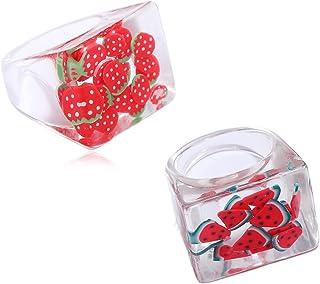 caiyao 2 Pcs Watermelon,Kiwi, Strawberry, Stones, Lemon Chunky Colorful Transparent Resin Band Fruit Acrylic Rings Set Sta...