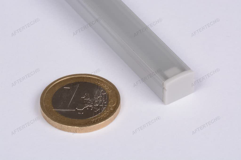 Aftertech/® 1009 PERFIL MICRO ALUMINIO 10x9mm 1M PARA TIRA LED ANCHA 6mm 1MT TAPA BLANCA