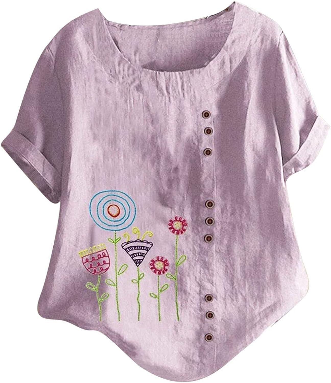 Womens Summer Cotton Linen T-Shirt Casual Plus Size Blouse Tops Short Sleeve Crewneck Tunic Comfy Soft Loose Tee