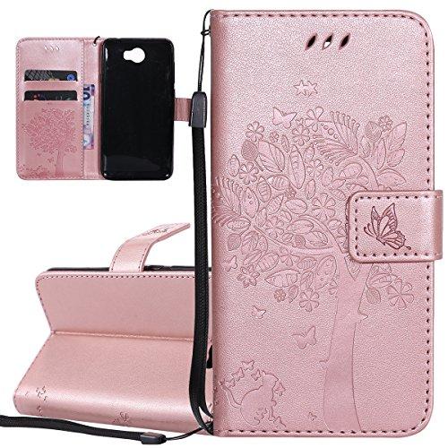 ISAKEN Hülle für Huawei Y5 II, PU Leder Brieftasche Geldbörse Wallet Hülle Ledertasche Handyhülle Tasche Schutzhülle Etui mit Handschlaufe Strap für Huawei Y5 II / Y6 II Compact - Baum Katze Rosegold