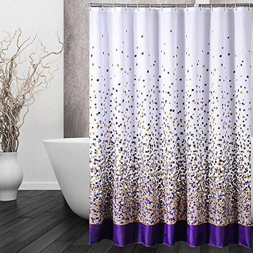 Duschvorhang Anti-Schimmel, Wasserdicht Polyester Badezimmer Duschvorhang mit verstärktem Saum, mit Haken 120/150/180/200 x 200cm