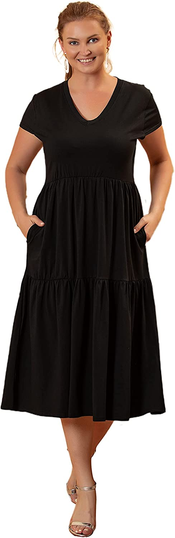 NiYaDress Cap Sleeve Soft Cotton Spandex Tiered Maxi Dress for Women